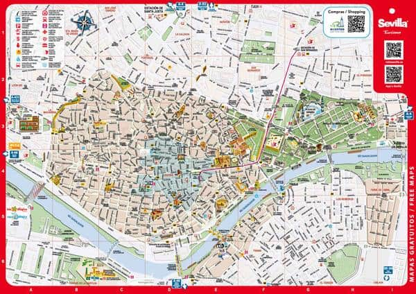 Map of Sevilla | Reservation of areas of motorhomes and ...