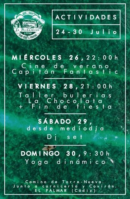 Actividades del 24 al 30 de julio en el Área de autocaravanas La Pachamama
