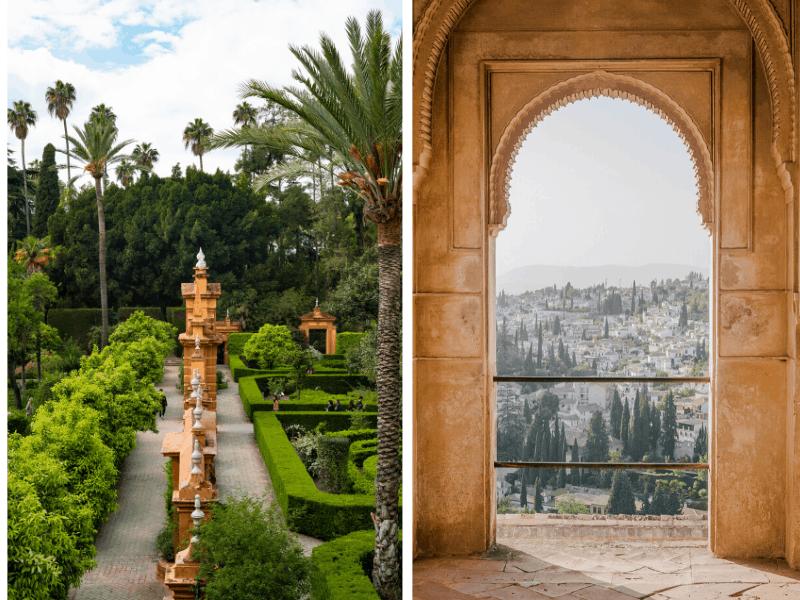 Alhambra à Grenade et Alcázar à Séville